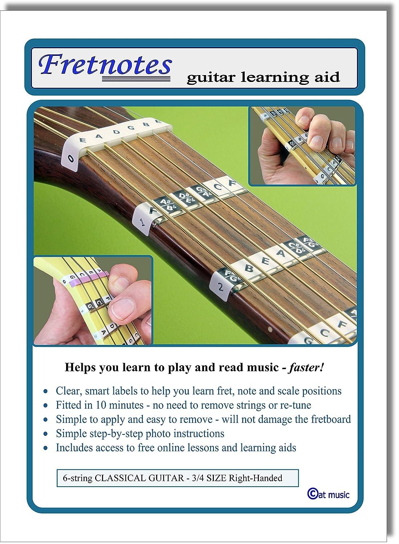 FRETNOTES Pegatinas - Para GUITARRA CLASICA de 6 cuerdas (tamaño 3/4, diestro) - 13 etiquetas con lecciones en línea: Amazon.es: Instrumentos musicales