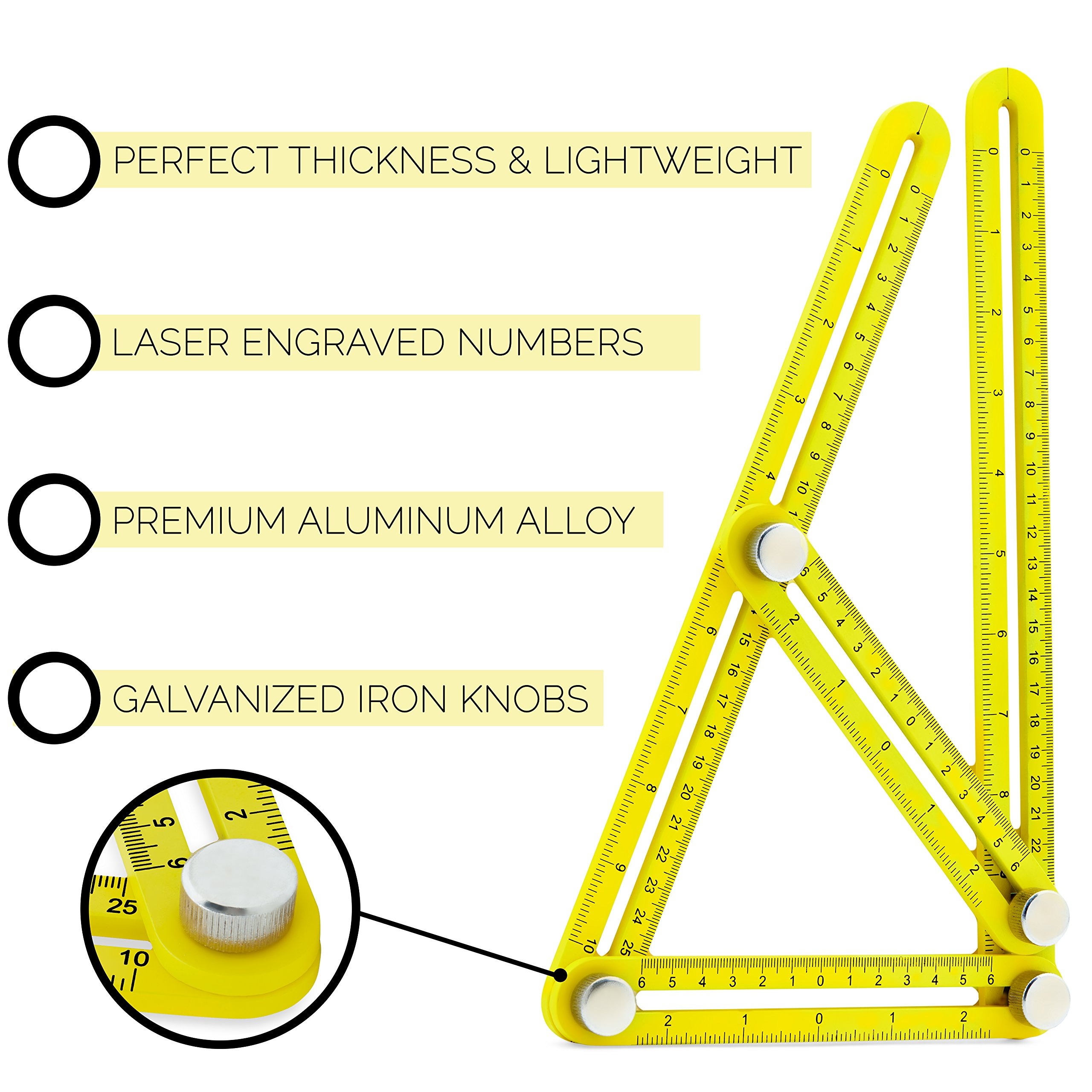 Universal Angularizer Ruler and Multi-Angle Measuring Tool in Yellow Metal - Template Tool Makes Great Gifts for Men Him Husband Dad Father DIY by Premium Rhino (Image #3)