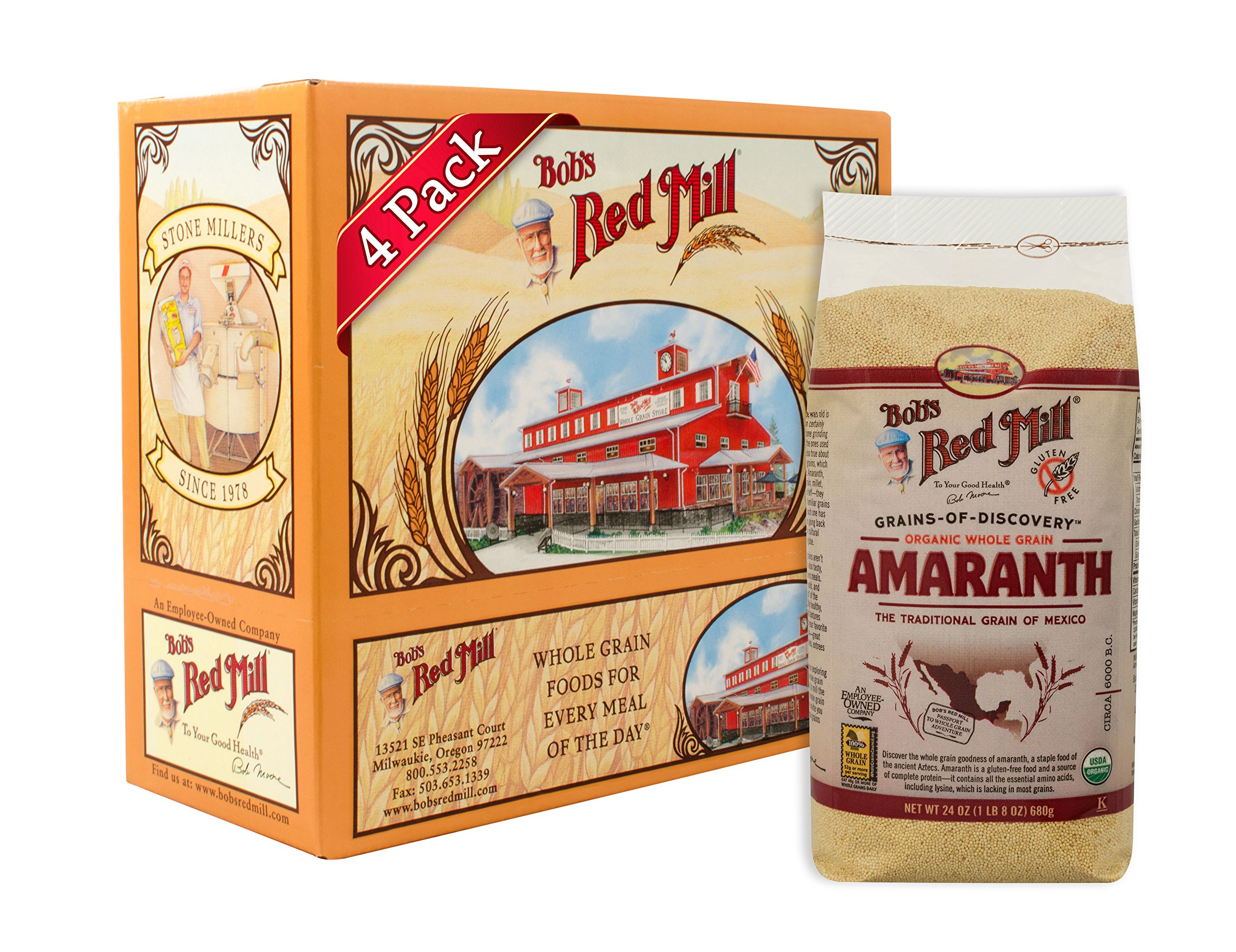 Bob's Red Mill Organic Whole Grain Amaranth, 24 Oz (4 Pack) by Bob's Red Mill