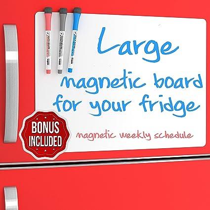 Calendario semanal magnético de borrado en seco para refrigerador ...