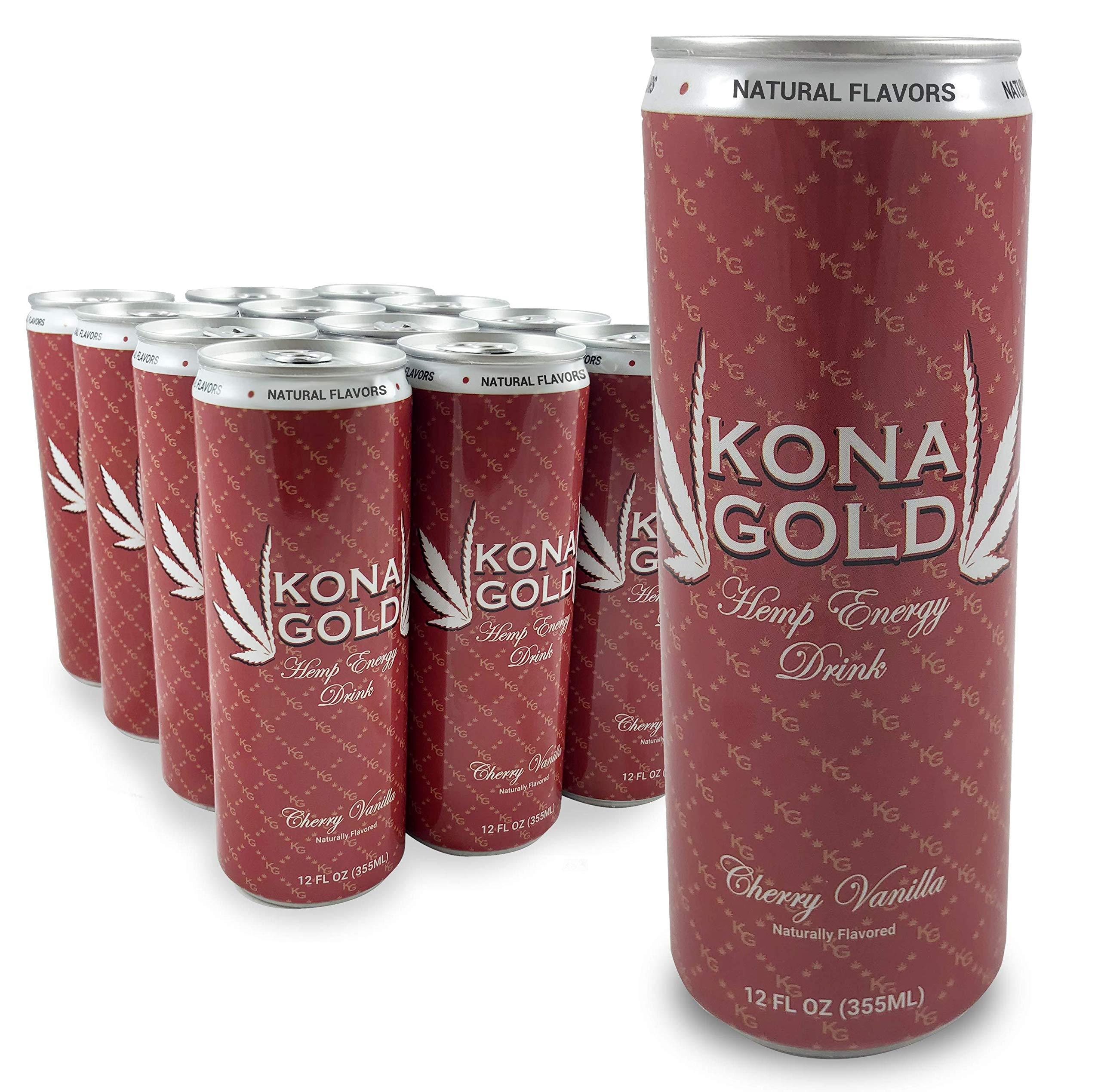 Kona Gold Cherry Vanilla Hemp Energy Drink 12.0 Fluid Ounces