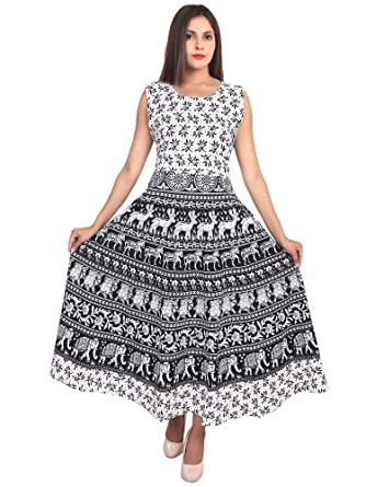 4a9786078bb BILOCHI'S Women's Cotton Jaipur Printed Long Midi Dress (Assorted Colours,  X-Large): Amazon.in: Clothing & Accessories