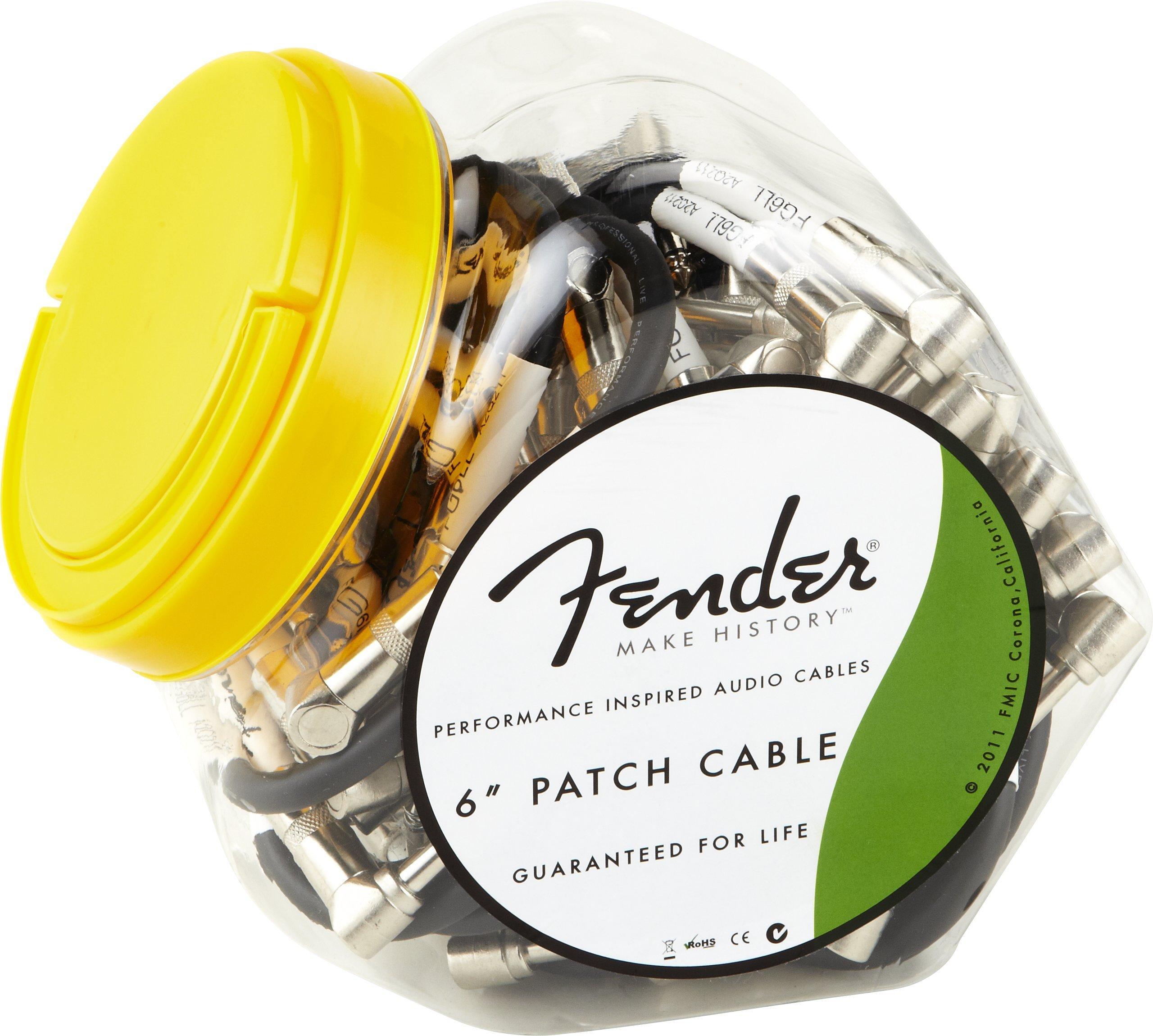 "Fender Performance Series 6"" Patch Cables – Bowl of 40 for guitar pedals, and pedals"