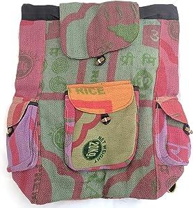 Pure Hemp Multi Pocket Backpack Handmade Nepal with Laptop Sleeve - Fashion Cute Travel School College Shoulder Bag / Bookbags / Daypack