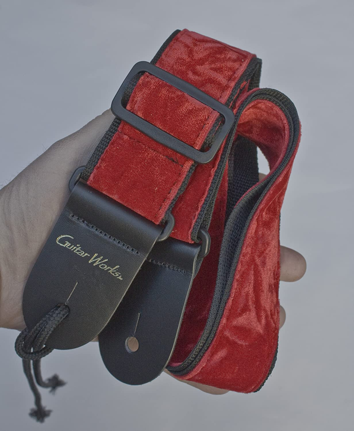 Guitar Strap Soft Red Velvet On Black Nylon Solid Leather Ends Fits All Acoustic /& Electric /& Bass Made In U.S.A.