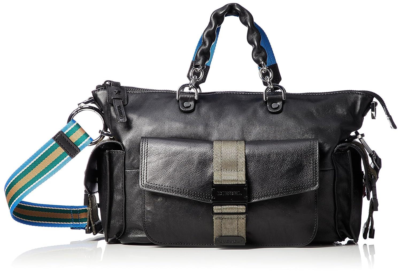 (ディーゼル) DIESEL レディース 2WAY マルチカラー ハンドバッグ MISS-MATCH MISS-MATCH SATCHEL M handbag X05599P1743 B07CNFM6HP UNI (Free) ブラック ブラック UNI (Free)