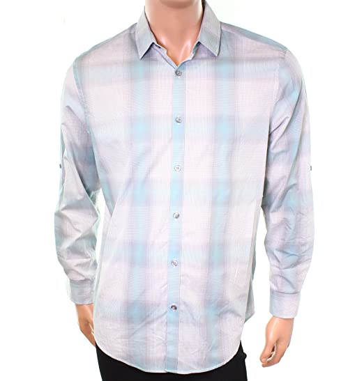 63be68958 Alfani Mens Medium Plaid Print Button Down Shirt Blue M at Amazon ...