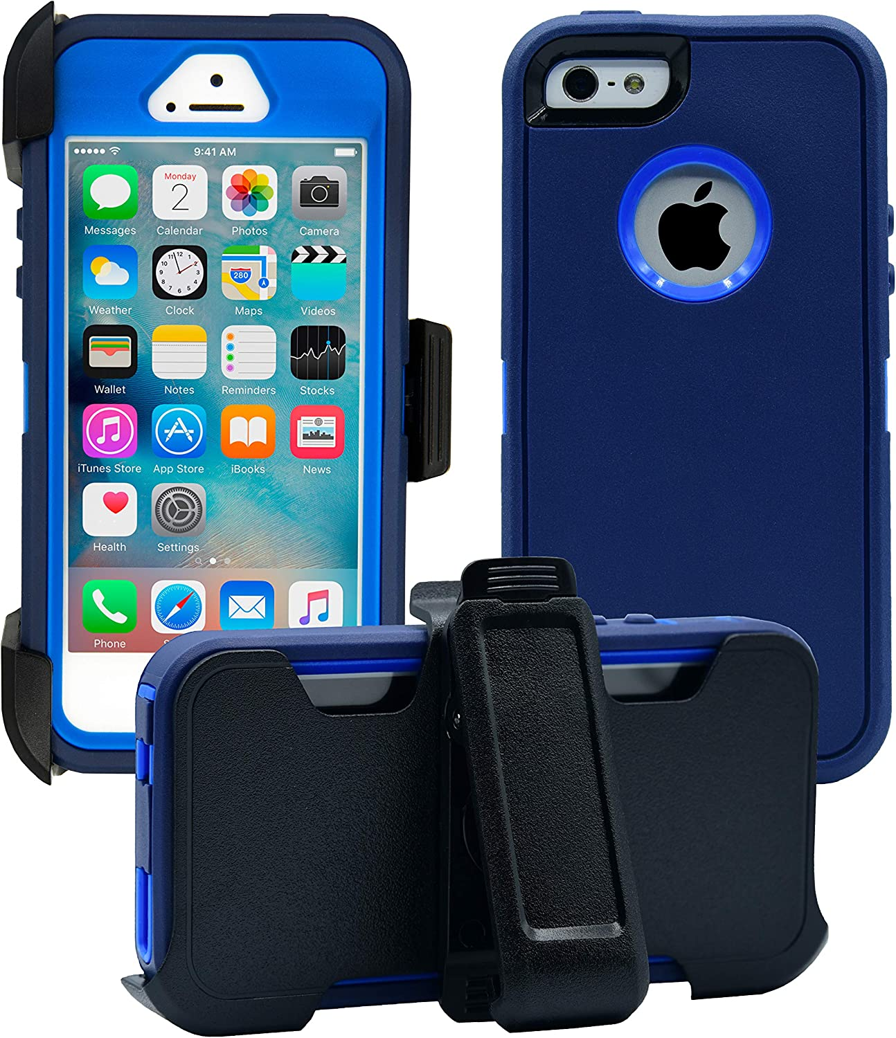 AlphaCell Cover Compatible with iPhone 5 / 5S / SE (2016)  2-in-1 Screen Protector & Holster Case   Full Body Military Grade Protection with Carrying Belt Clip   Protective Drop-Proof Shock-Proof