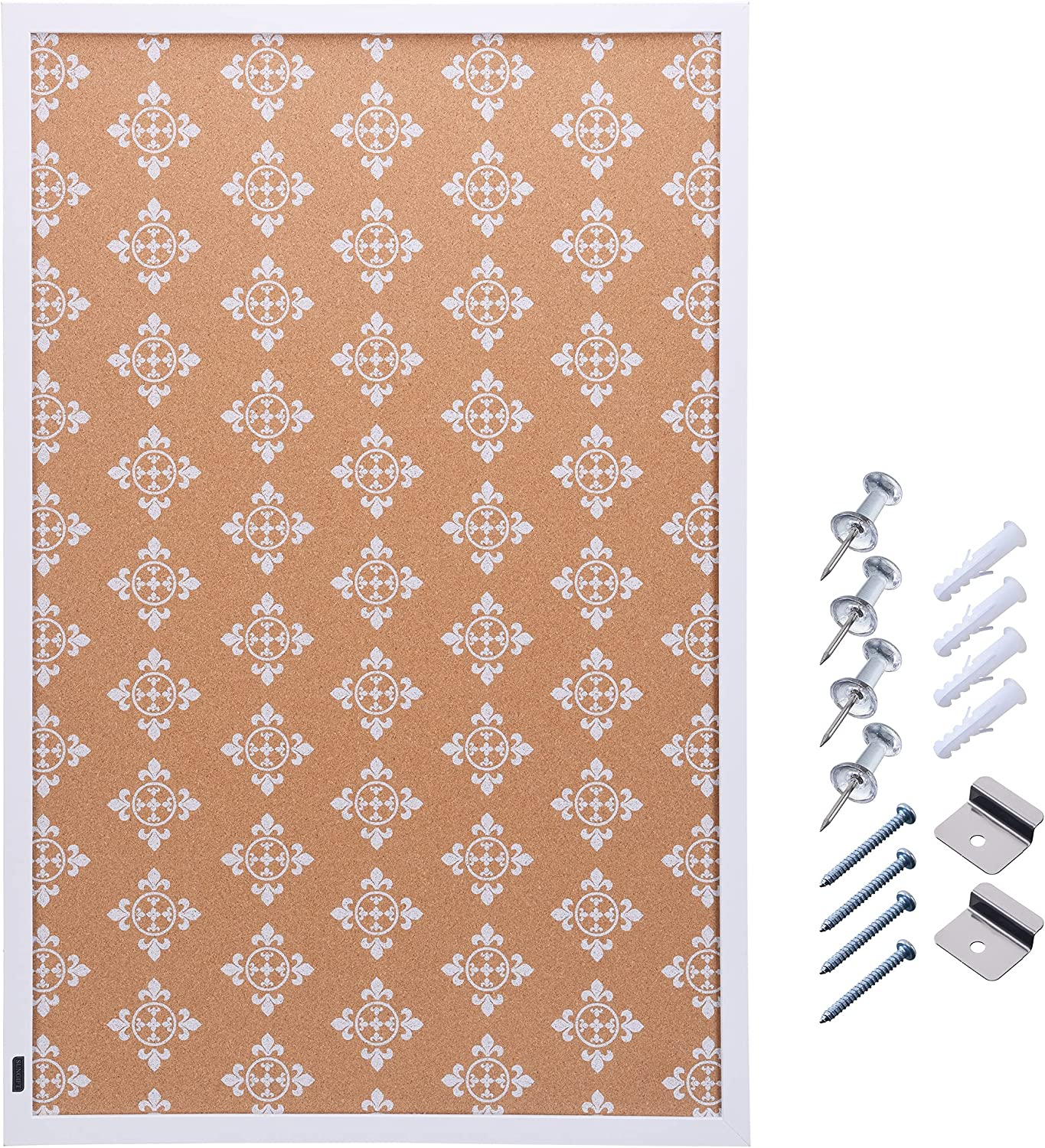 SUNGIFT Cork Board for Wall with Frame 36 x 24 Floral Print Cork Tiles Long Cork Bulletin Board with Pushpins Corkboards for School, Home, Office, Bedroom Decor