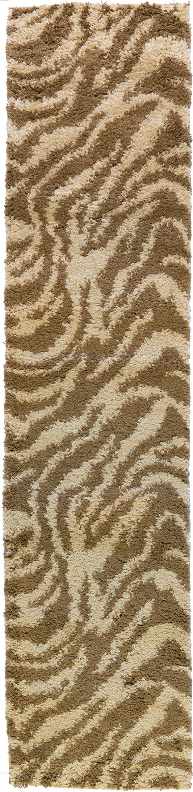 Well Woven Runner Rug Madison Shag Safari Zebra Brown Animal Print 20'' X 7'2'' Flokati Soft Plush Thick Rug 7038