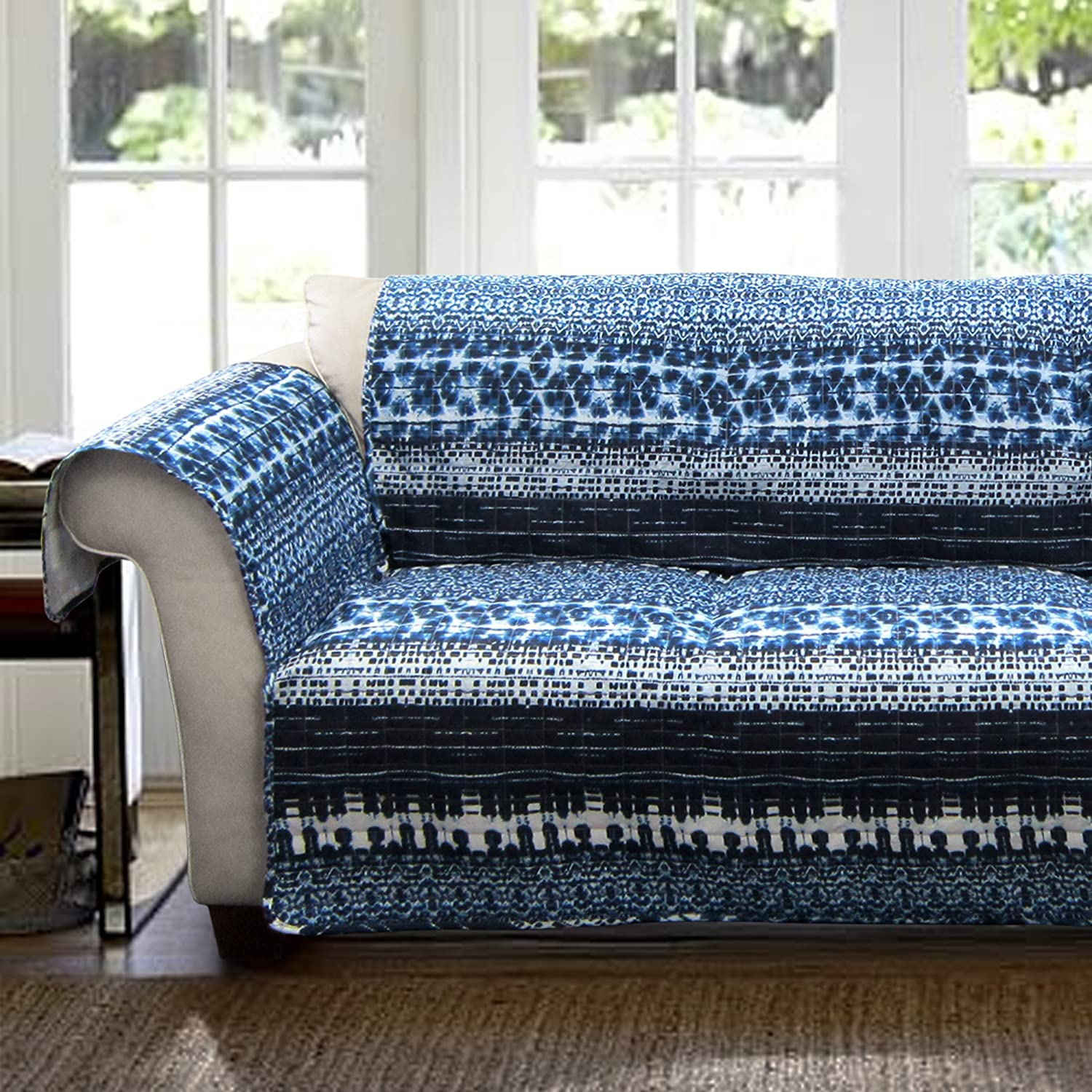 Navy Triangle Home Fashions C28599P14-000 Lush Decor Lambert Tie Dye Slipcover//Furniture Protector for Loveseat