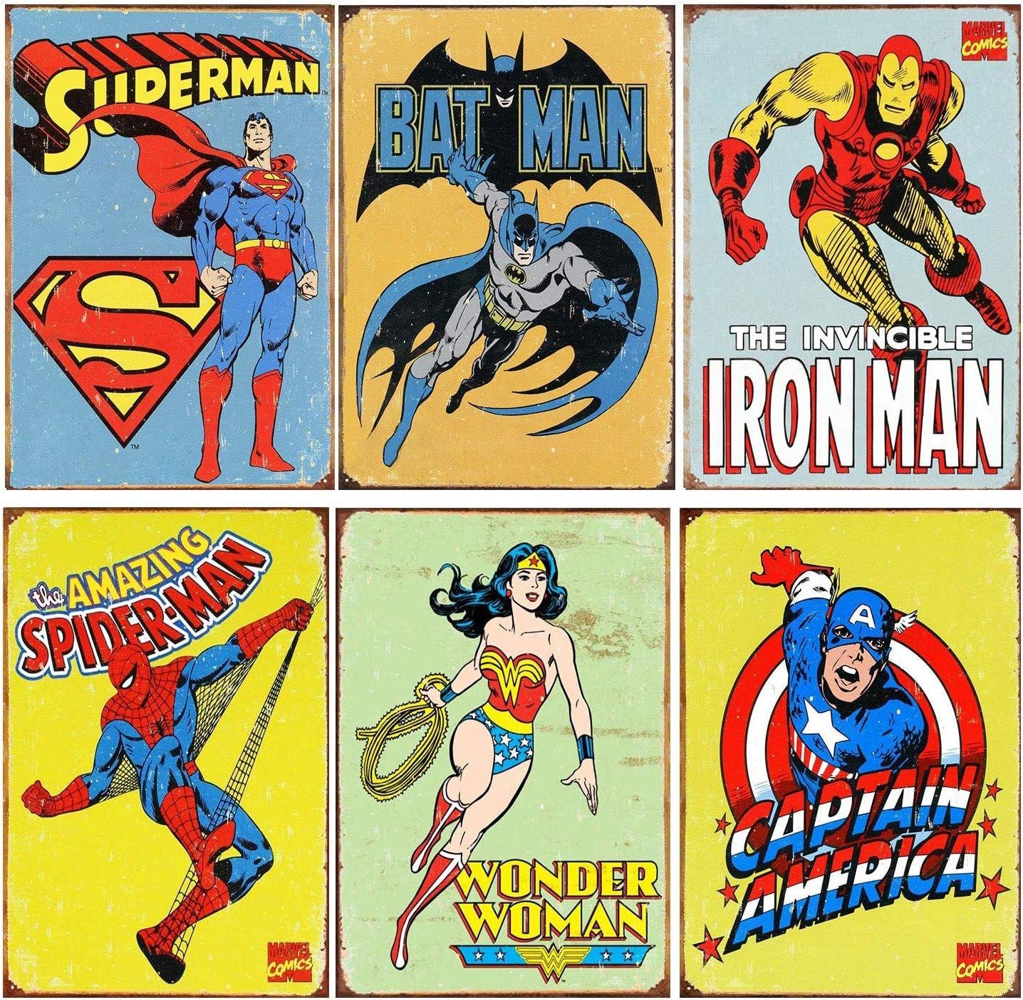 Metal Tin Sign superman  hero comic  Bar Pub Home Vintage Retro Poster Cafe