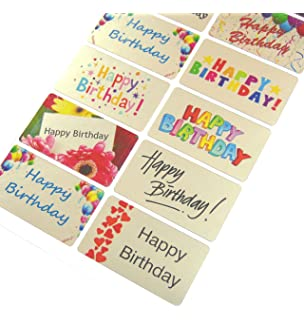 Happy Birthday Greeting Stickers Silver Self Stick Labels For Cards Envelopes Craft