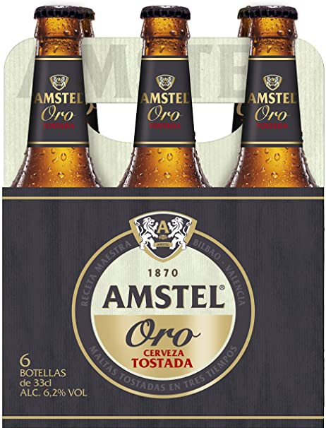 Amstel Oro Cerveza - Pack de 6 Botellas x 330 ml - Total: 1,98 L ...