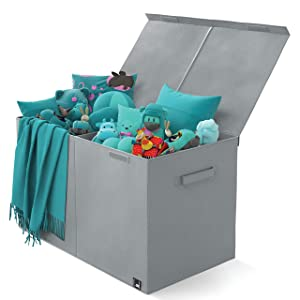 Toy Chest - 2 Bin Collapsible Storage Organizer with Lid for Kids Playroom | Box Stores Stuffed Animals, Linen, Groceries and More | The Oxford Collection, Gray