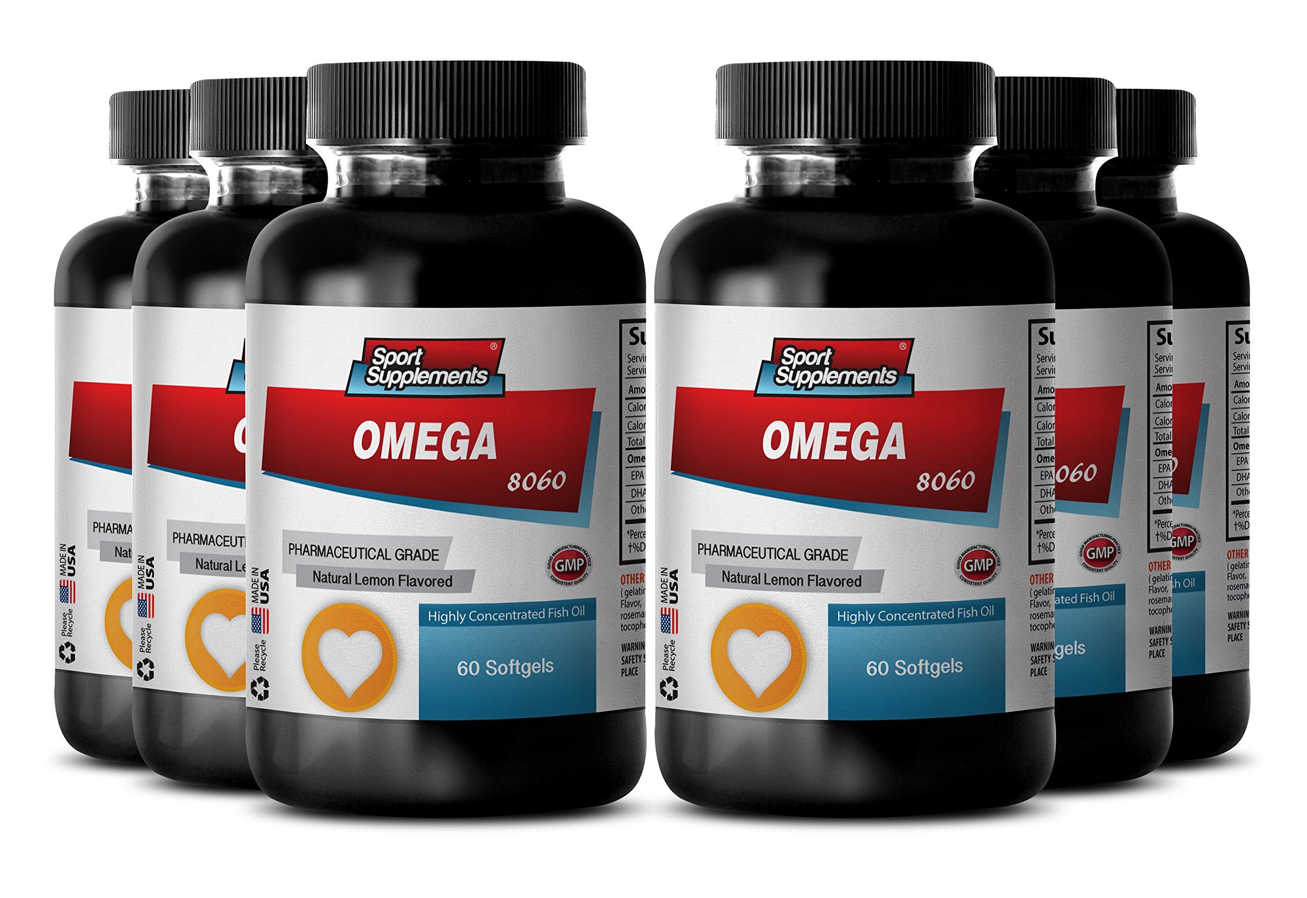 Omega 3 Softgels - Omega 8060 - Fish Oil for Weight Loss (6 Bottles, 360 Softgels)