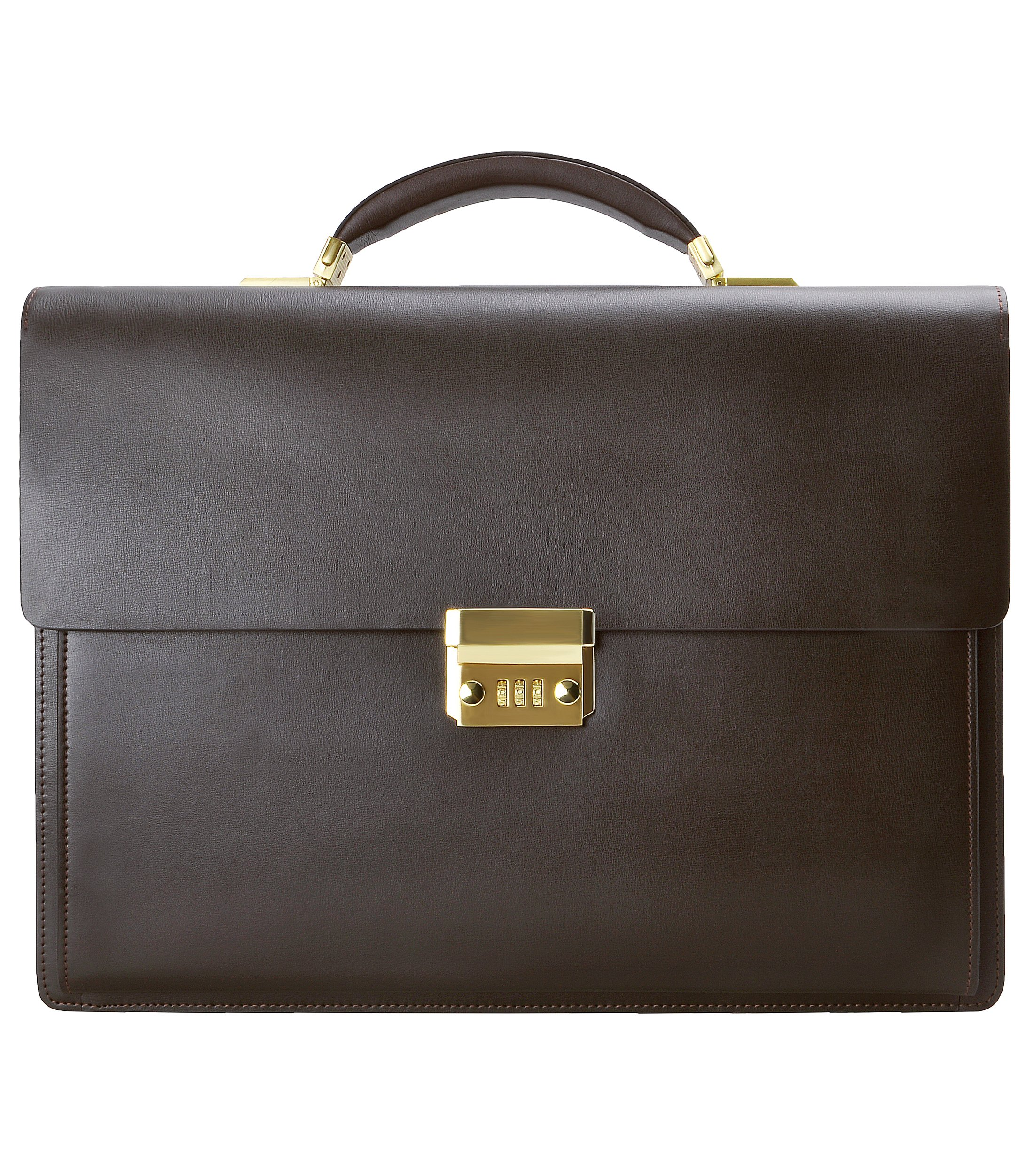 ZLYC Men Leather Flap Over Laptop Messenger Bag Formal Briefcase Combination Code Business Bag, Coffee