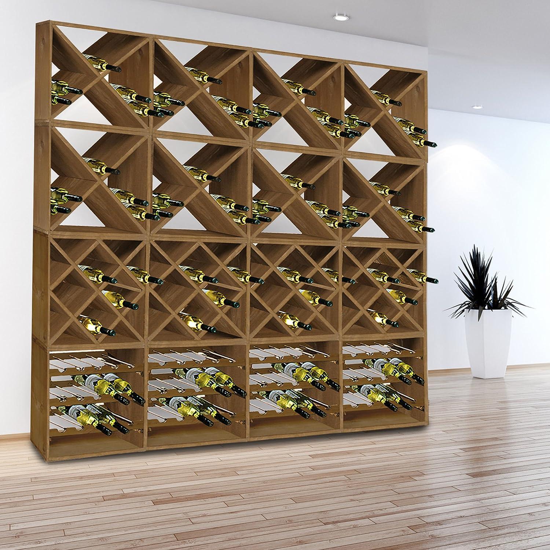 Syst/ème d /étag/ère /à vin CUBE 50 en bois massif Kit: 2 x Croix et 2 x losange tobacco H 200 x L 50 x P 25 cm