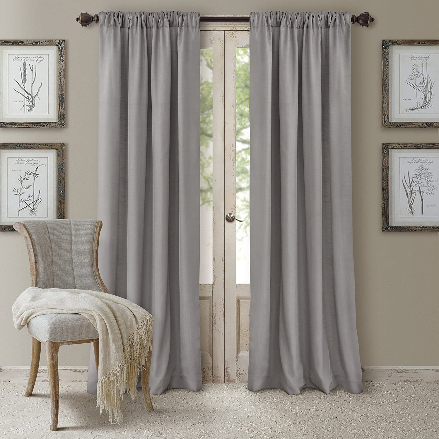"Elrene Home Fashions 26865721836 3-in-1 Blackout Energy Efficient Lined Rod Pocket Window Curtain Drape Panel, 52"" x 84"", Silver"