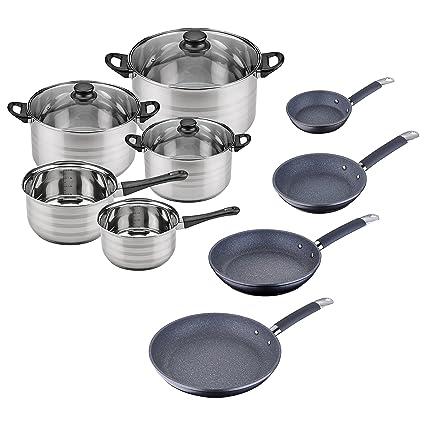 Set Batería de cocina SIP 8 piezas (dos cazos + tres ollas con tapa de