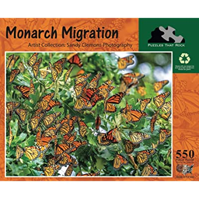 Puzzles That Rock Monarch Migration 550 Piece Butterfly Puzzle: Toys & Games
