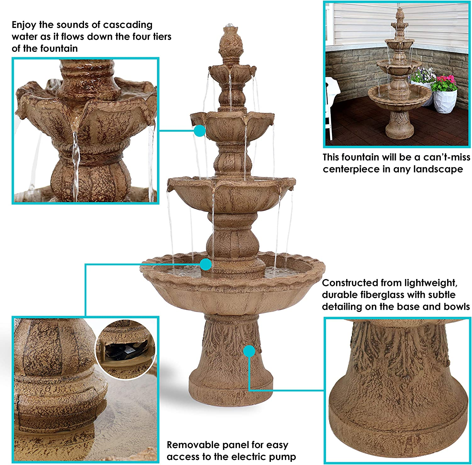 Patio Backyard Tan Porch Sunnydaze 4-Tier Outdoor Water Fountain with Pineapple Top or Yard 52 Inch Large Outside Floor Waterfall Fountain Feature for Garden