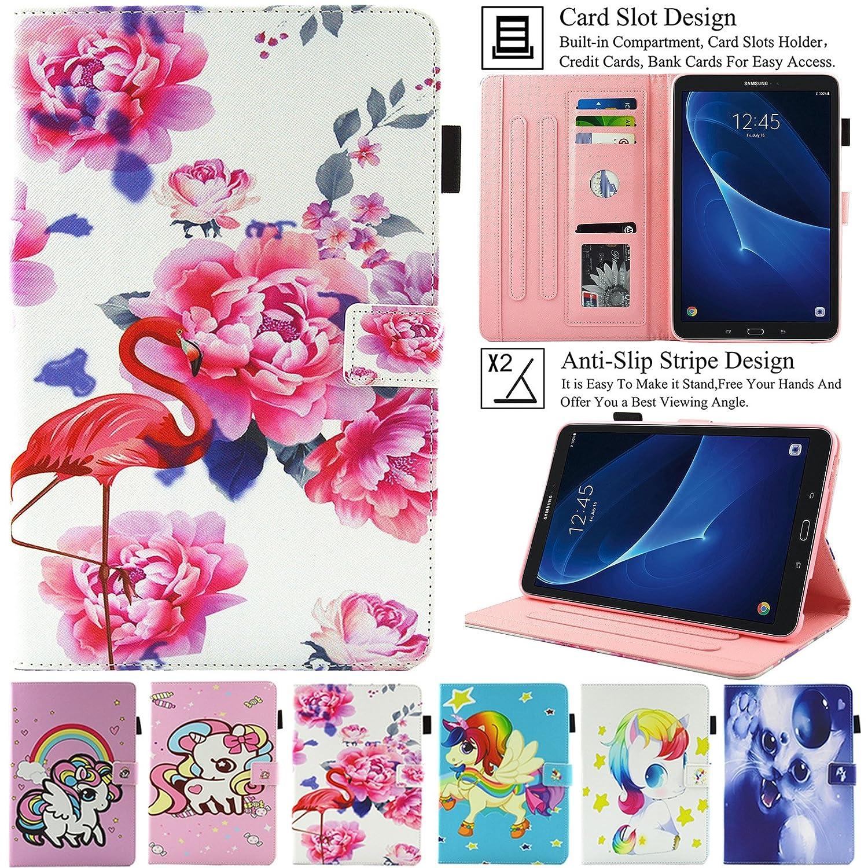Galaxy Tab A 10.1ケース, artyondソフトマイクロPUレザーカードスロットでスマート磁気カバーケース[滑り止めストライプ] [自動ウェイク/スリープ機能]スタンドケースfor Samsung Galaxy Tab A 10.1インチsm-t580 / t585  フラミンゴ B078JL6S4R