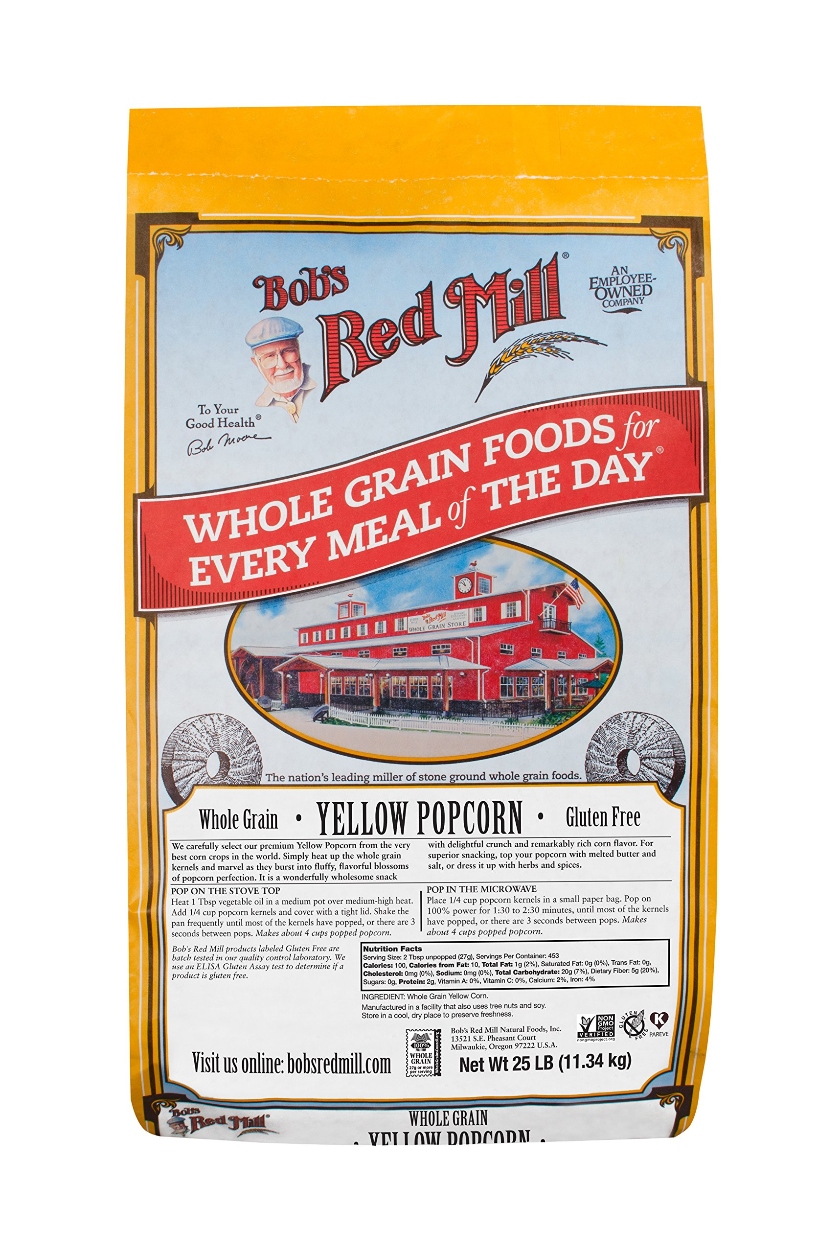 Bob's Red Mill Whole Yellow Popcorn, 25 Pound