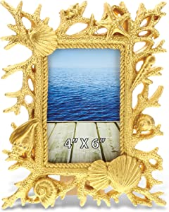 CoTa Global Resin Sea Coral 4 x 6 Picture Frame, Back Easel Seashells Conch Photo Holder Ornate Intricate Handcrafted Tabletop Accessory - Nautical Ocean Life Beach Theme Home Accent Décor (Gold)