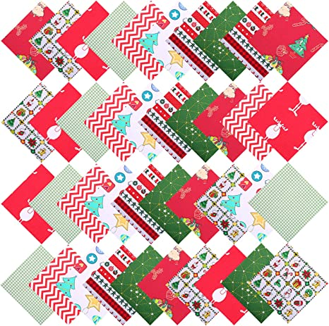 5.9 inch 10 Prints Polyester Cotton/Homespun Fabric Squares Caydo 20 Pieces Plaid Fabric Christmas Lodge Charm Pack
