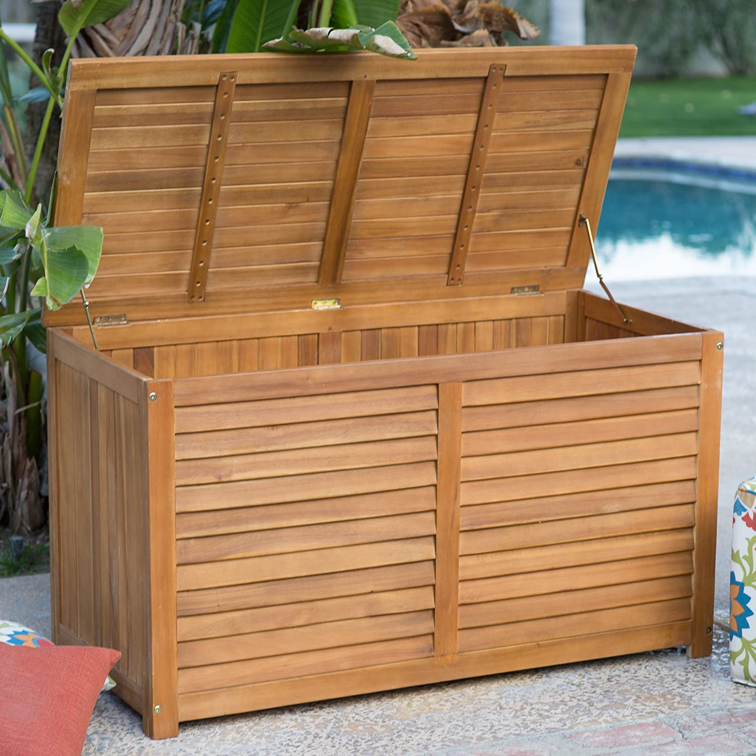 amazon com 90 gallon outdoor wood storage deck box weather