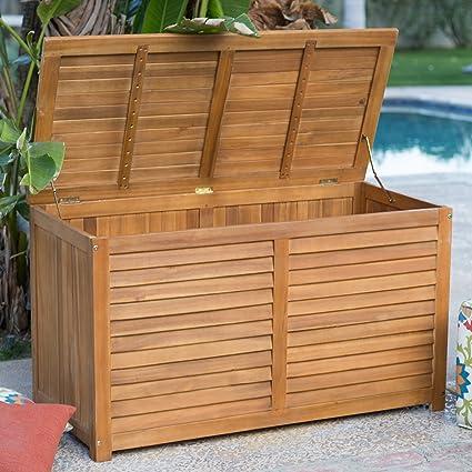 Fine 90 Gallon Outdoor Wood Storage Deck Box Weather Resistant Stain Natural Finish Inzonedesignstudio Interior Chair Design Inzonedesignstudiocom