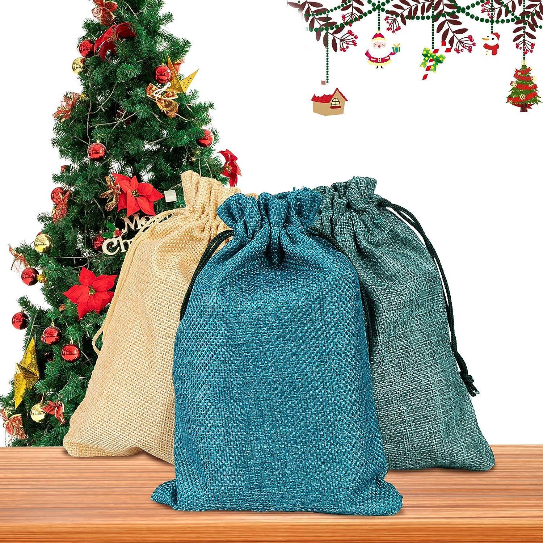 Vegena 30 Bolsa de Lino 13 cm x 18 cm, Bolsas de Regalo Naturales para Rellenar Calendario de Adviento, Joyas, Bodas, Fiestas, Navidad, Manualidades (3 Colores)
