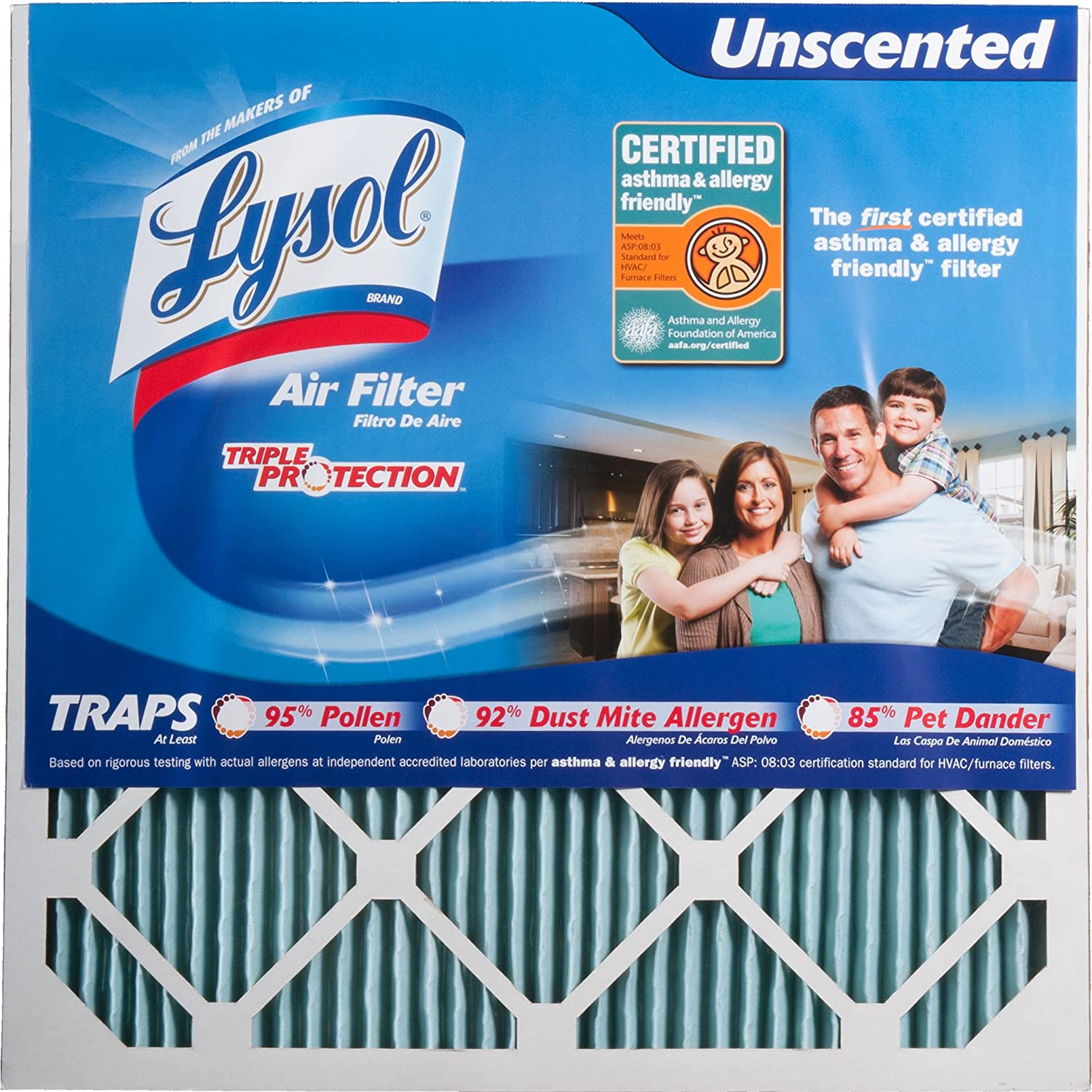 Best furnace air filters for allergies - Amazon Com Lysol Triple Protection Air Conditioner Furnace Air Filter 20 X 20 X 1 6 Pack Home Improvement
