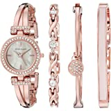 Anne Klein 2238RGST Women's MOP Dial Swarovski Crystal Accented Rose Gold Bangle Bracelet Watch Set