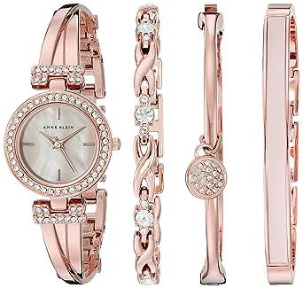 Anne Klein Women s AK 2238RGST Swarovski Crystal-Accented Rose Gold-Tone  Bangle Watch c5727479f9