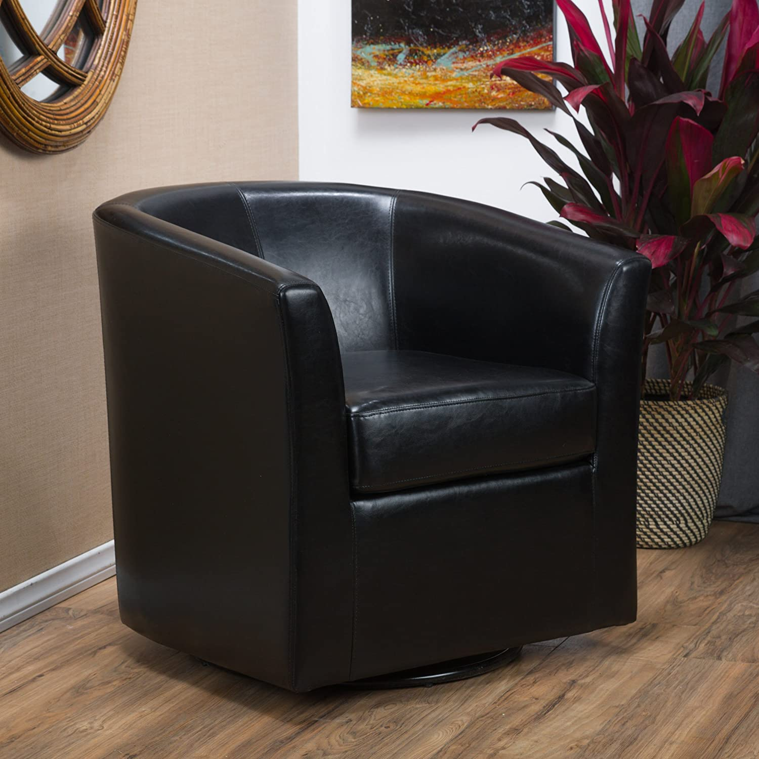 Amazon.com: Great Deal Furniture Corley | Leather Swivel Club Chair | In  Black: Kitchen U0026 Dining
