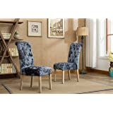 Roundhill Furniture C166CC Grenoble Solid Wood Button Tufted Ice Velvet Dining Chairs Set of 2, Charcoal