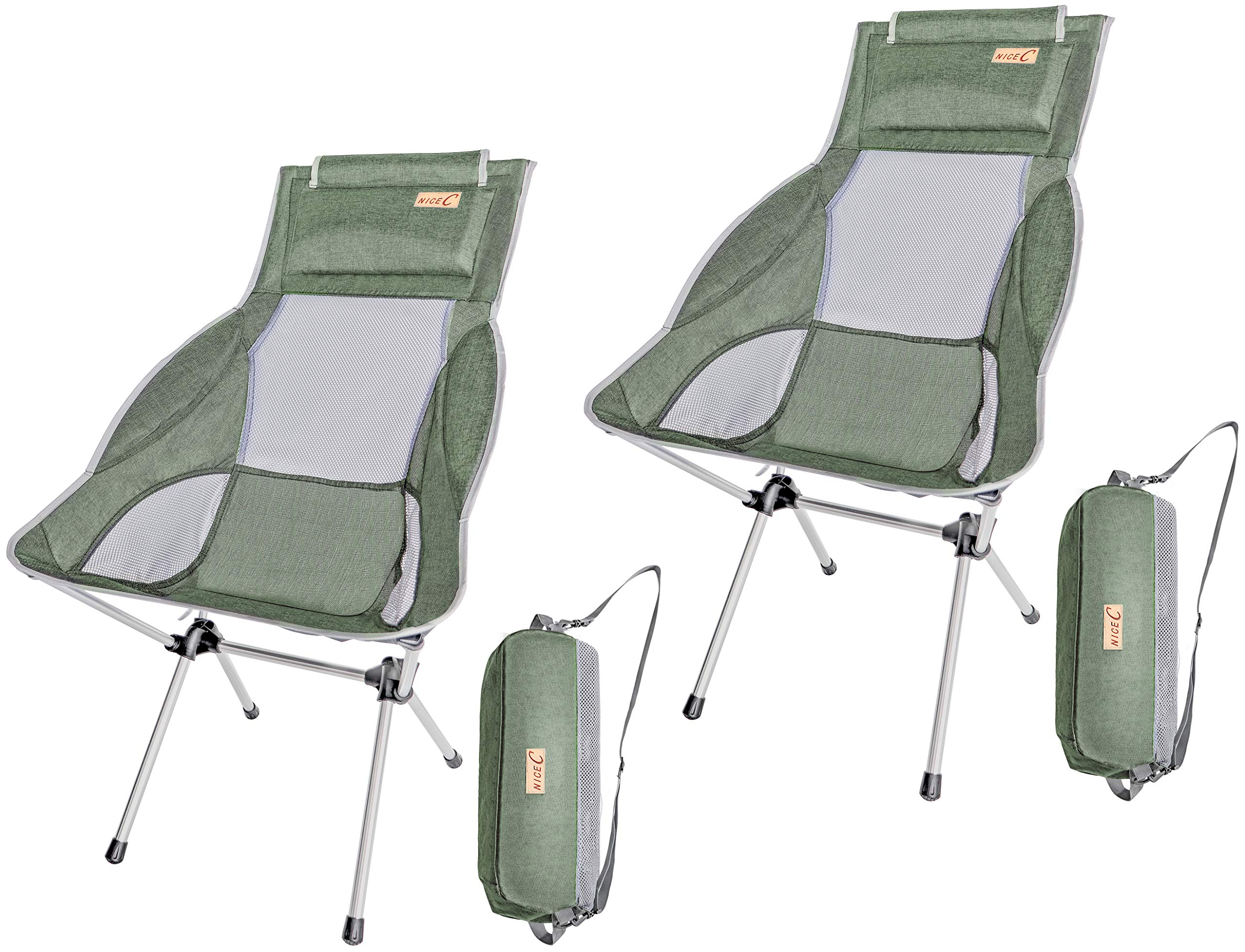 Nice C Ultralight High Back Folding Camping Chair, with Headrest, Outdoor, Backpacking Compact & Heavy Duty Outdoor, Camping, BBQ, Beach, Travel, Picnic, Festival with Carry Bag (2 Pack of Green