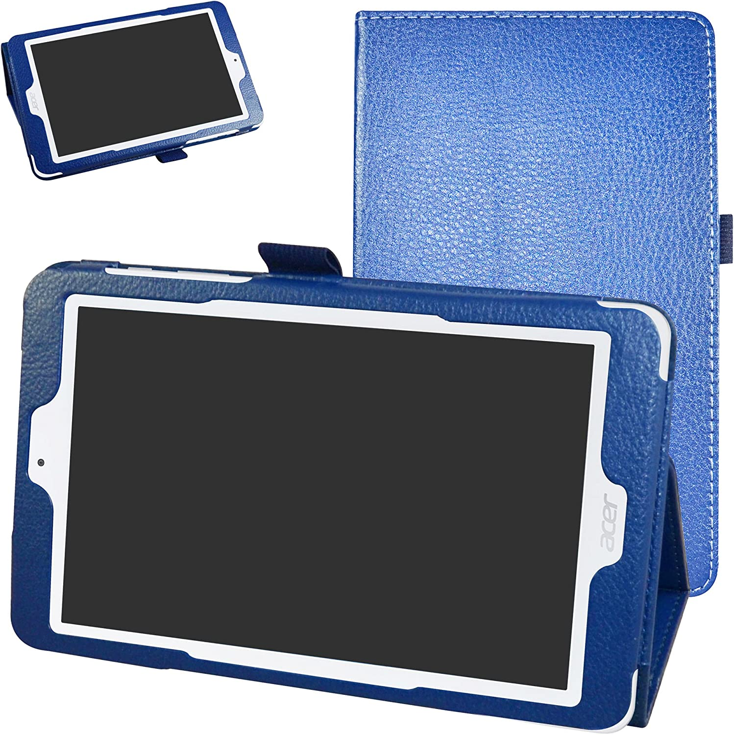 "Acer Iconia One 8 B1-850 Case,Mama Mouth PU Leather Folio 2-Folding Stand Cover with Stylus Holder for 8"" Acer Iconia One 8 B1-850 Android Tablet,Dark Blue"