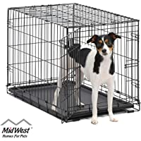 MidWest Homes for Pets Dog Crate & Double Door Folding Metal