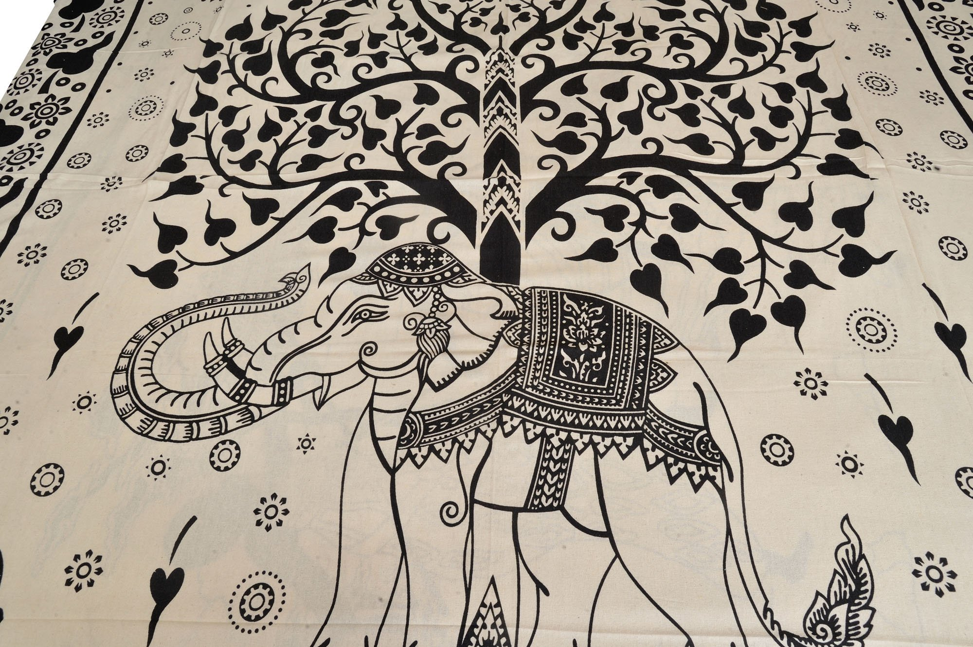 White and Black Bedsheet with Printed Tree of Life and Royal Elephant - Pure Cotton with Pillow Cove by Exotic India (Image #2)