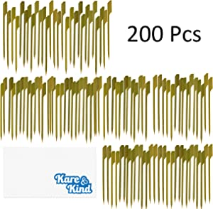 Kare & Kind Bamboo Cocktails picks - 4.5 inch - 300pcs Paddle-Shaped Skewers - Cocktails, Appetizers, Hors' D'oeuvre, Yakitori, BBQ, Skewering Meat, Fruits and Vegetables