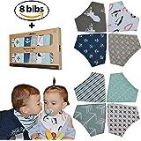 Baby Bandana Drool Bibs 8-Pack By Achee - 100% Organic Cotton Absorbent Drooling & Teething Bib Set - Baby Drool Bibs Set For Newborns & Infants - Unisex Designs For Boys & Girls Gift Pack