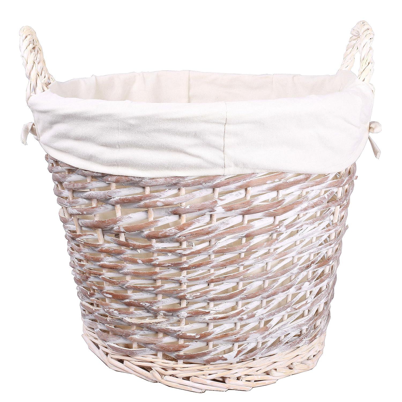 White Wash Finish Wicker Log Basket Collection Storage Laundry With Linings Basic House Ltd