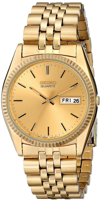 seiko men s sgf206 gold stainless steel quartz watch gold seiko men s sgf206 gold stainless steel quartz watch gold dial seiko amazon co uk watches