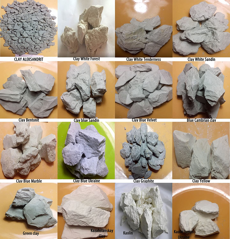 Argilla commestibile e gessetti commestibili, 4tipi di argilla e 4tipi di gessetto Juturu