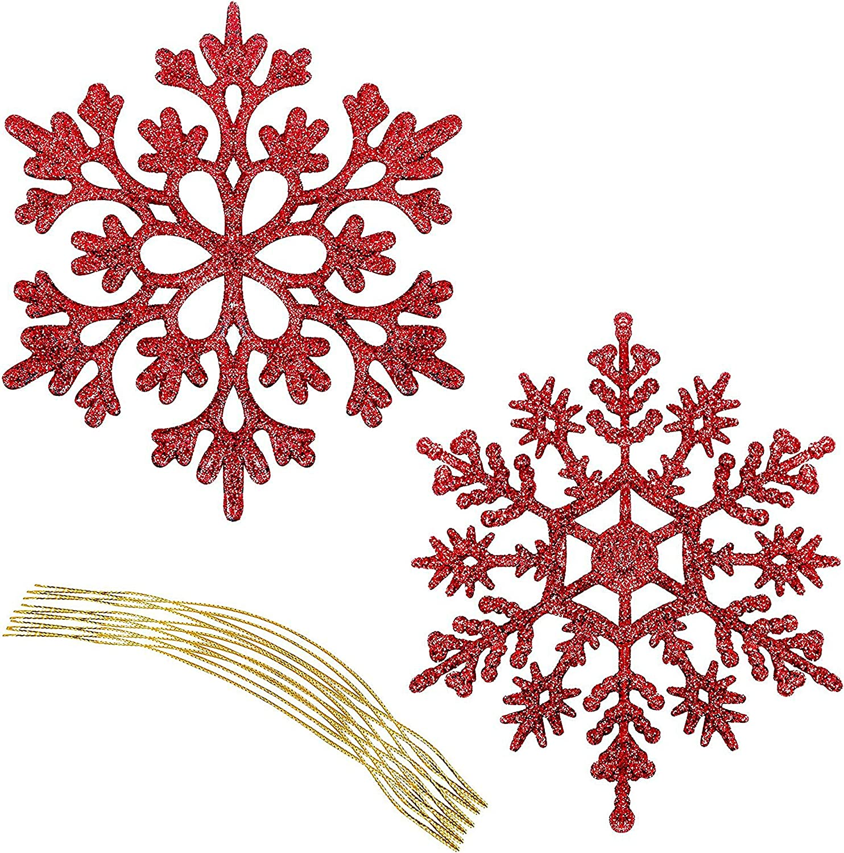 Accessoire D/écoration de No/ël - Flocons de Neige en Plastique Rouge Scintillant D/écoration Sapin Noel BELLE VOUS Flocon de Neige Lot de 36 Ornement de No/ël /à Suspendre