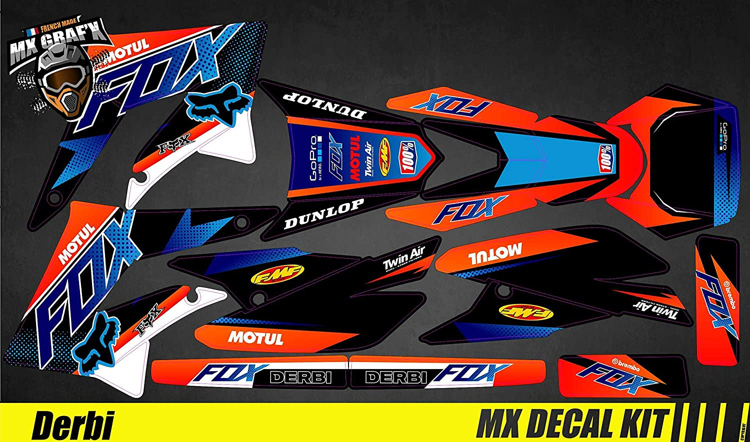 Kit Déco Moto para / MX Calcomanías Kit para Derbi 50 - Fox
