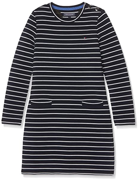 Tommy Hilfiger Girls Shift HWK Dress L/S, Vestido para Niños, Azul (